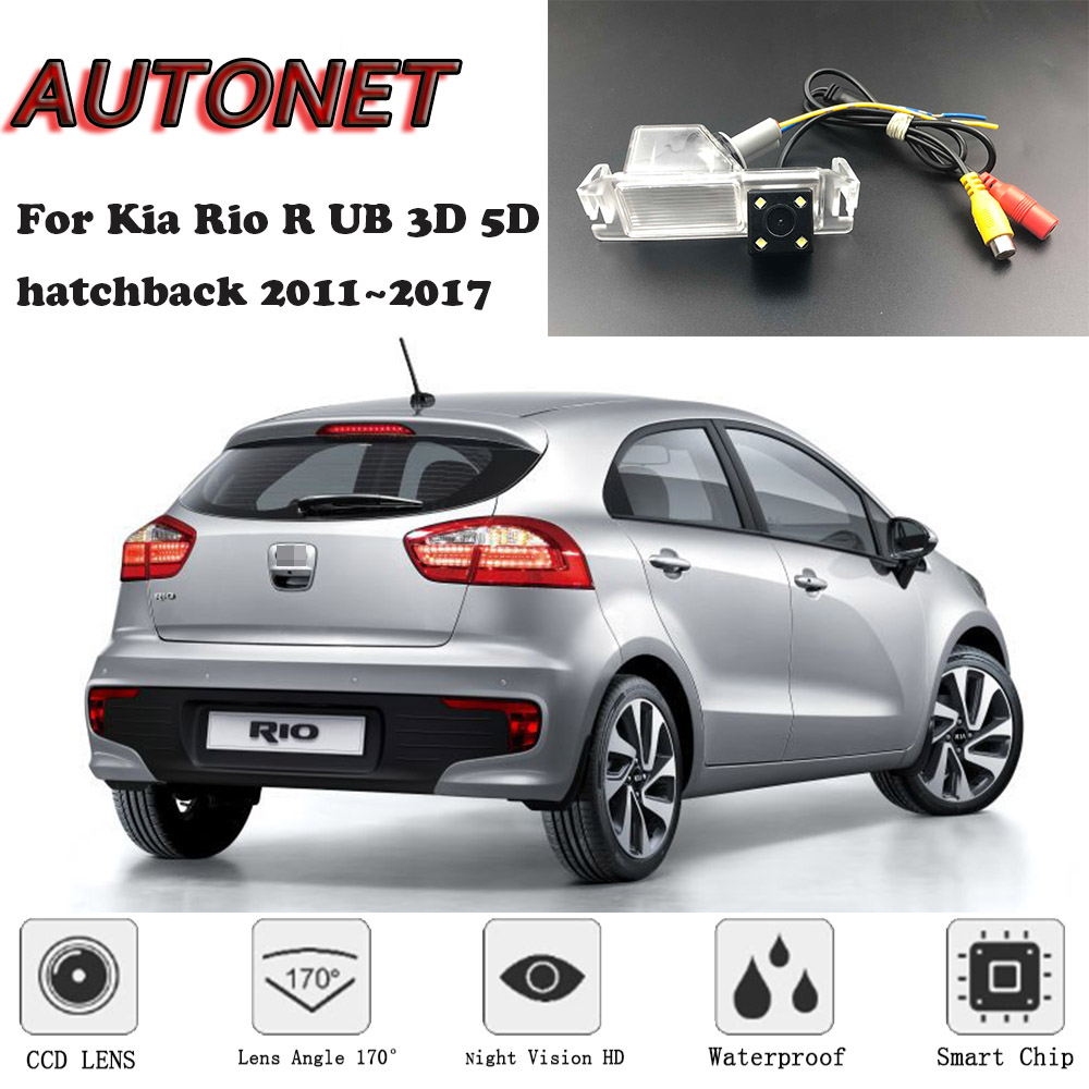AUTONET Backup Rear View camera For Kia Rio R UB 3D 5D hatchback 2012 2013 2014 2015 2016 2017 Night Vision license plate camera|Vehicle Camera| |  - title=