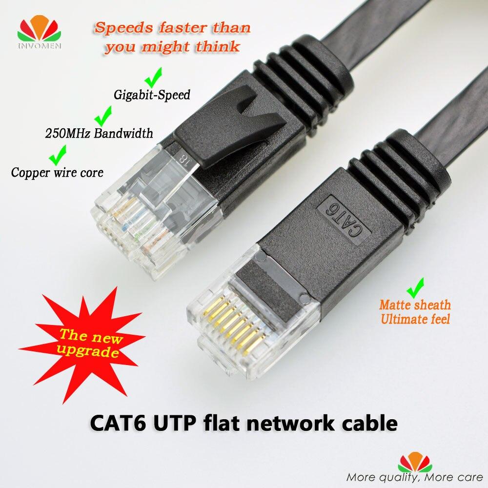 50pcs / lot 6ft 3m CAT6 כבל Ethernet שטוח כבל רשת UTP - כבלים למחשב ומחברים