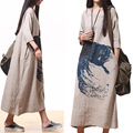 Plus Size Ethnic Vintage Print Cotton Linen Maxi Long Dress For Women Brief Ultra Loose Three Quarter Sleeve Casual Dresses
