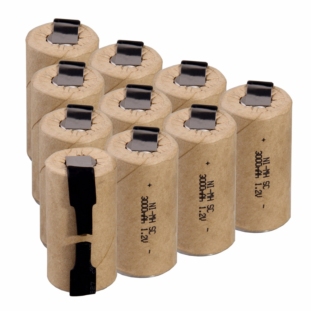 10 Pcs SC 3000mah 1.2v Battery NIMH Rechargeable Batteries For Electric Screwdrivers 4.25cm*2.2cm For Electric Drills