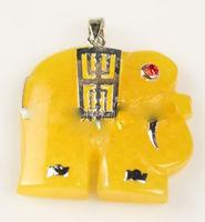 Wholesale price 16new ^^^^Pretty Yellow stone Elephant Design Woman's Men's 18KGP Necklace Pendant