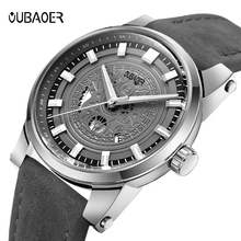 OUBAOER Mens Watches Top Brand Luxury Leather Strap Business