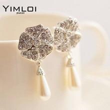 New Elegant Full Rhinestone Flower Long Water Drop Pearl Earrings for Women Jewelry E172 недорого