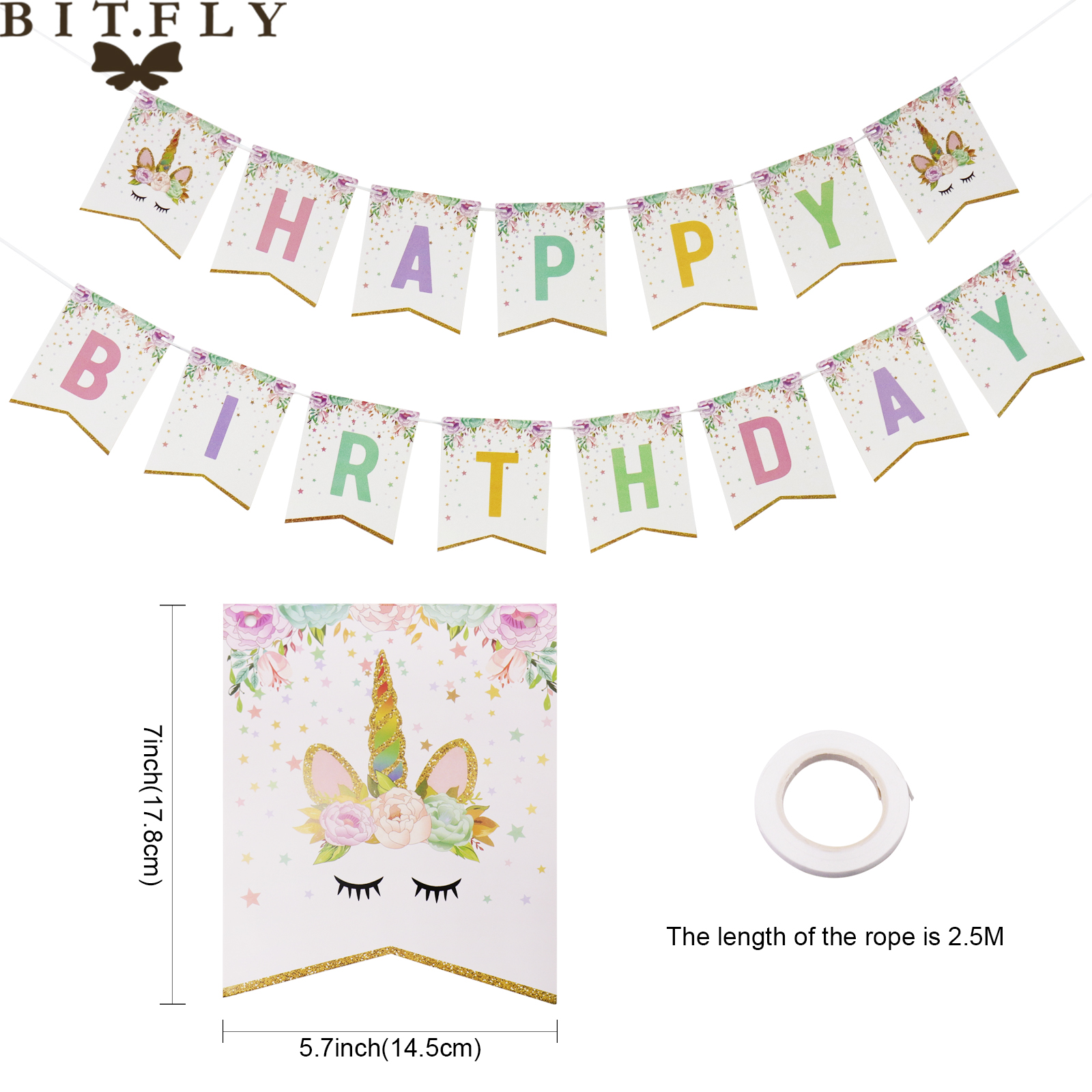 Cut Price 2 5m Glitter Pink Unicorn Happy Birthday Banner Baby