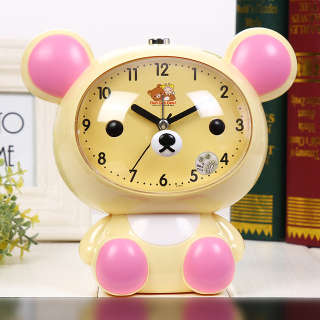 2017 Creative Children Bedroom Alarm Clock Bear Cartoon Mute Clock With  Night Light Multiple Ring Tones