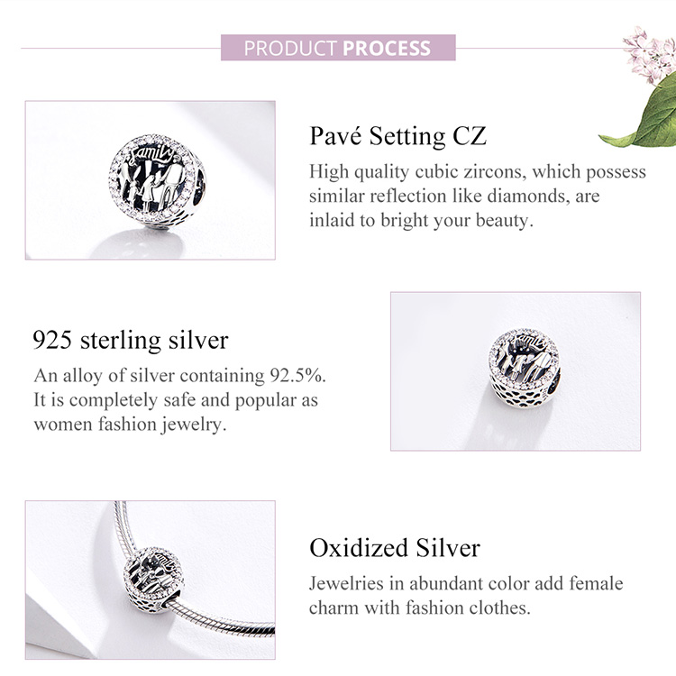 HTB1K516UCzqK1RjSZFHq6z3CpXaC BAMOER Family of Four Round Metal Beads 925 Sterling Silver Families Charm for Women Original Silver Bracelet Bangle SCC1184