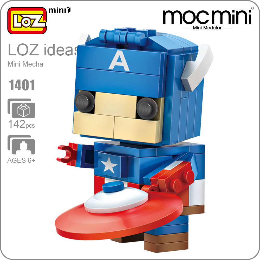 LOZ ideas Mini Block Superhero Action Figure Doll DIY Building Assembly Toy Model Movie Building Blocks Early Educational 1401 loz 280pcs l 9522 deadpool action figure building block educational diy toy