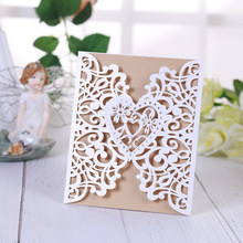 1 Piece ICE WHITE laser cut wedding invitations card set ,mr mrs wedding romantic flowers party favors etiquette elegant(China)