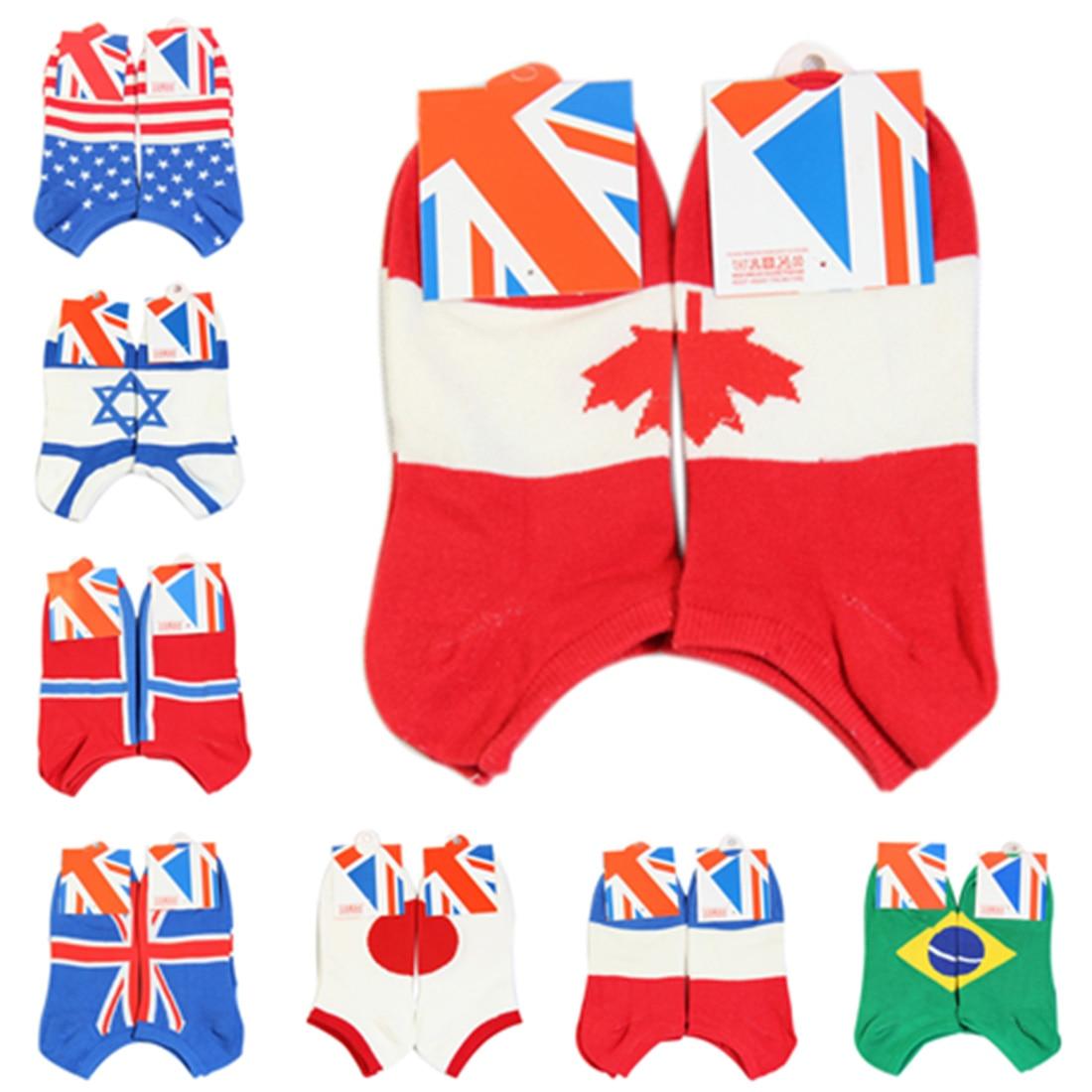 Hot Sale Soccer Man Socks USA UK Israel Brazil Norway Japan Canada Flag Socks Cotton Meias Men's Socks Spring Socken