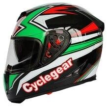 Cyclegear Бренд Мотоциклетный Шлем Kawasaki Ninja Кубок Двойной Линзы Анфас Мотоцикл Шлем CG903
