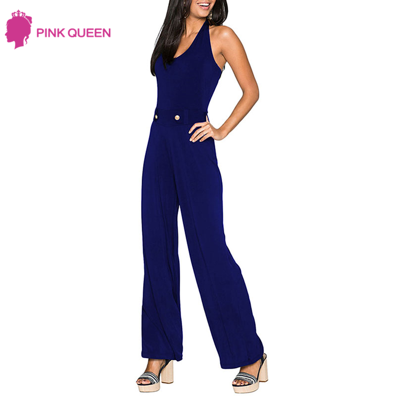 Pink Queen New Arrivals Halter Sexy Summer Sexy Jumpsuit Spring 2018 Body Woman Jumpsuit Boot Cut Full Length Overal Women Femme