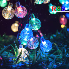 New 6M 30 LED Solar String Lights Warm White/White/RGB Outdoor Garden Christmas Party Festival Trees Decorative Lightings(China)