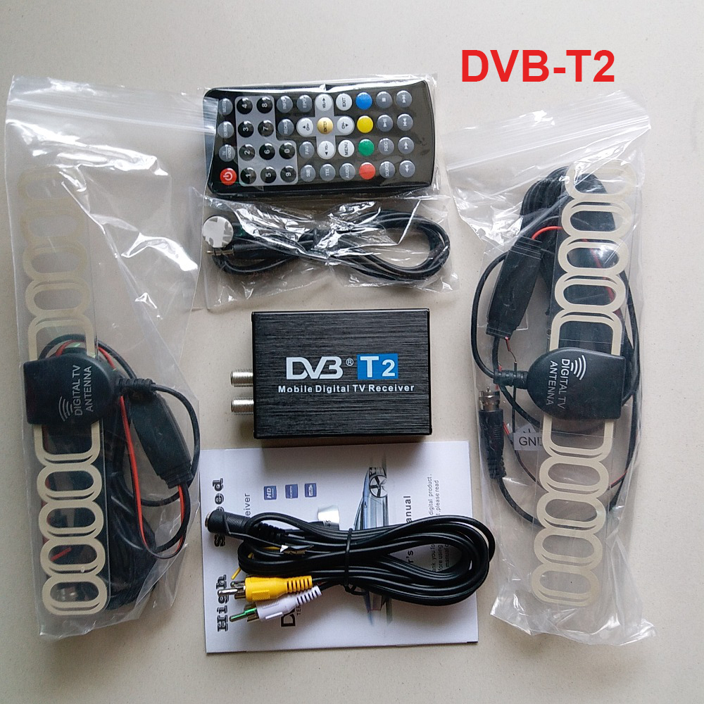 High Speed DVB T2 Car DVB-T2 Box Double Antenna DVB-T2 Car DVB T H.264 MPEG4 External USB Digital Car TV Tuner car dvd player accessories external digital tv box dvb t2 dual tuner receiver box set