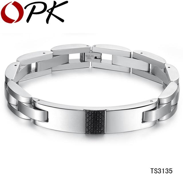 OPK JEWELRY BRACELET CHAINS carbon fiber balance bracelets for men 316L taniless steel free shipping new arrivel 3135