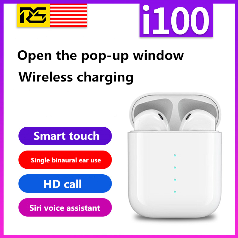 I100 Tws Pop-up Window Animation Bluetooth 5.0 Earphone Wireless Charging Smart Touch 1:1 Headset For Iphone Android