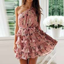 Sexy Floral Print Ruffle Women Dress Chiffon Mini One Off Shoulder Long Sleeve Female Dress Summer Boho Style Beach Sundress