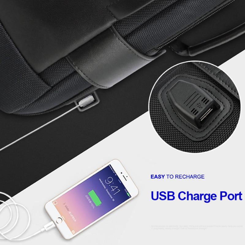 15.6 Pouces tapis absorbant Noir De Contraction sac à dos en cuir pour Hommes USB De Charge Mâle sac à dos de voyage Nylon hommes sacs à dos - 3