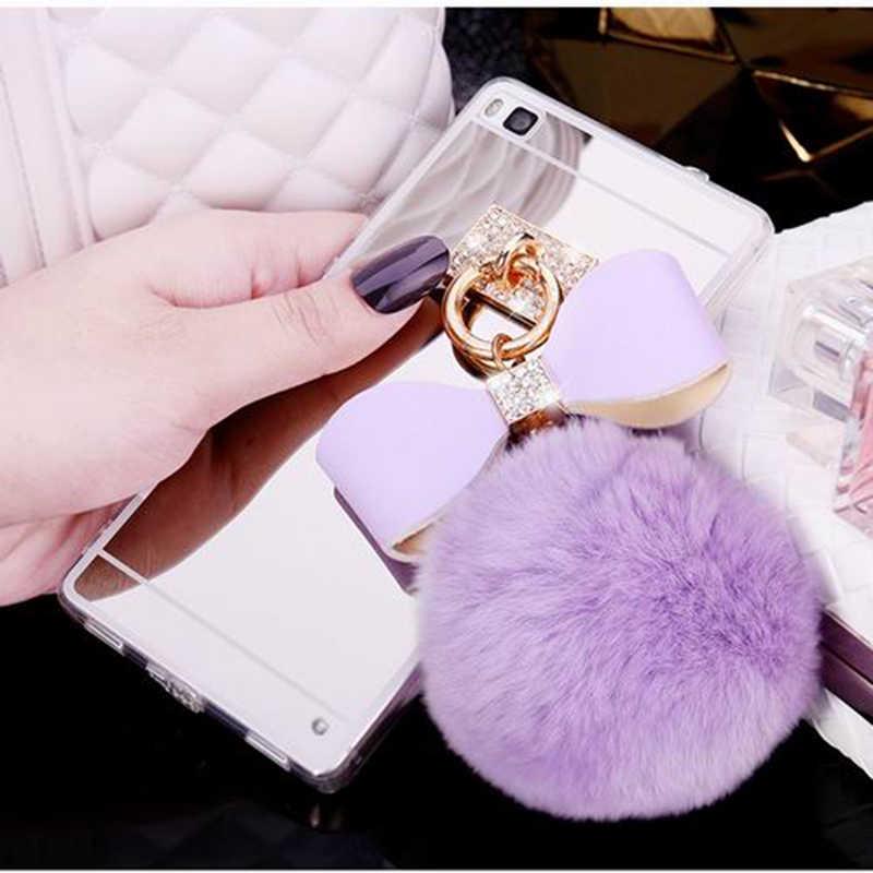 LOVECOM с помпоном из меха кролика на цепочке бант с кристаллами зеркальный чехол для Huawei P8 P9 Lite P10 P20 Honor 7 8 Коврики 7 8 9 чехол для телефона из мягкого ТПУ с рисунком женские босоножки с закрытой пяткой