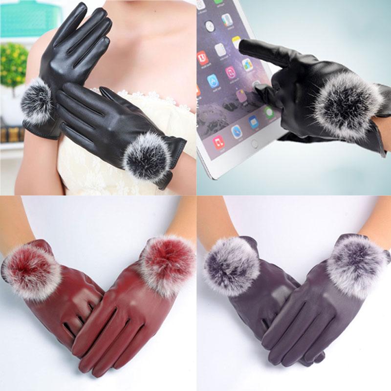 1pair New Winter Soft Mittens Warm PU Leather Rabbit Fur Balls Female Gloves Women Gloves   H9