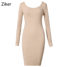 New Fashion Winter Sweater Women Dresses Long Sleeve O Neck Bodycon Knitted Dress Solid Slim Knitting