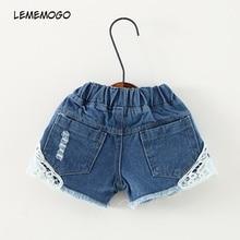 Lememogo bebé niñas agujero corto Jeans novedad niños de pantalones cortos para chica cintura elástica pantalones cortos niños Slim versátil vaqueros