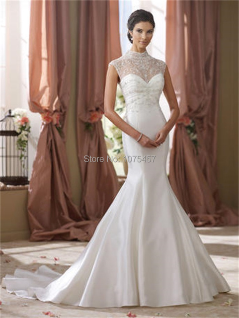 Mermaid Wedding Dress Turtleneck See Through Romantic Bridal Gowns ...