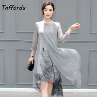 Tafforda 2018 New Spring Summer Casual Style Women S Silk Dress High Quality Loose Large Size