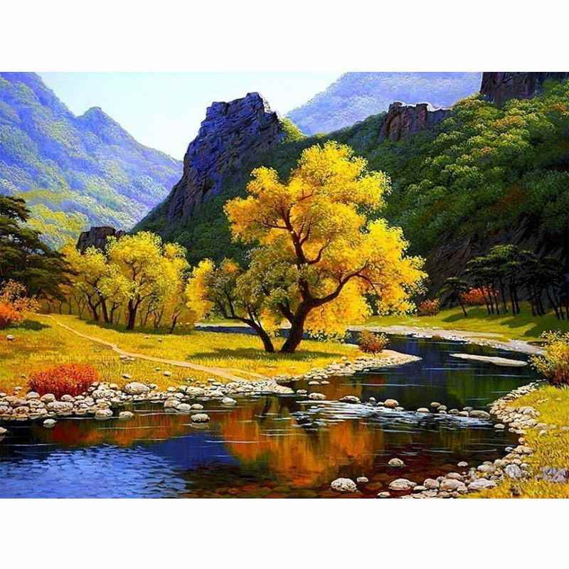 CHUNXIA Framed DIY Painting By Numbers Landscape Acrylic Painting Modern Picture Home Decor For Living Room 40x50cm RA3377