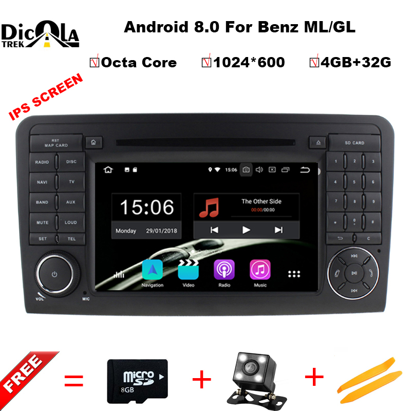 4+32G Octa Core Android 8.0 CAR DVD player For Mercedes Benz GL ML CLASS W164 ML350 ML500 X164 GL320 car GPS stereo radio цена
