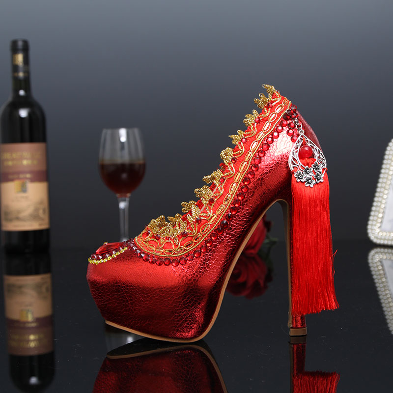ФОТО Hot Red Tassel Lace Crystal Pumps Bridal Rhinestone High Heel Shoes Handmade Queen Party Dress Platform Shoes Plus Size 43