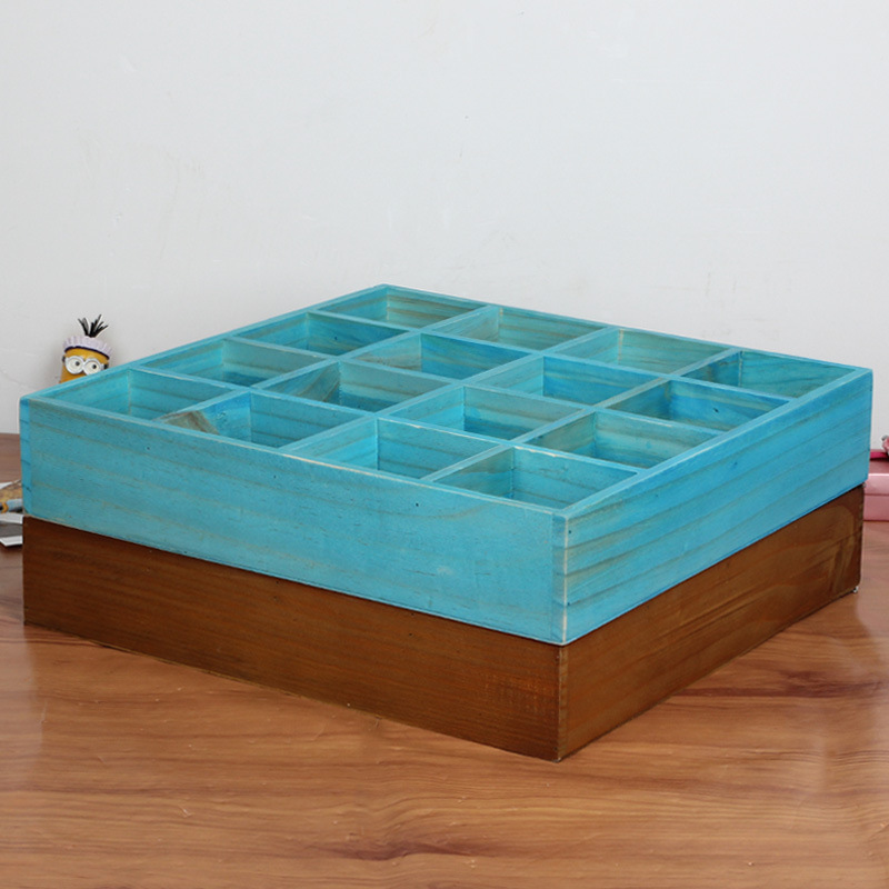 Wooden Boxes Vintage Retro Look Wall Mounted Square Wood Display Shelf 16 section Divided 4 Layers Drawer Storage Drawer Box