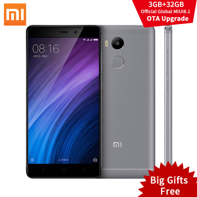 """Оригинал Xiaomi Redmi 4 Pro Простые 3 ГБ RAM 32 ГБ ROM Snapdragon 625 4100 мАч FHD 5.0 """"13.0MP ОТА MIUI 8.1 Xiomi Redmi4 Мобильного Телефона"""
