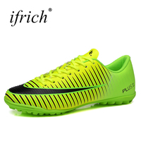 Ifrich Man Sports Indoor Football Shoes Boys Kids Turf Football Soccer Sneakers Green Silver Turf Trainers