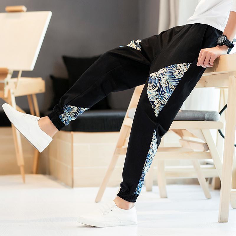 2019 Ultimo Disegno Nuovo Cinese Onda Di Stampa Hip Hop Baggy Cotone Pantaloni Stile Harem Delle Donne Degli Uomini Più Il Formato Streetwear Pantaloni Salotto Pantaloni Boho Casual 5xl