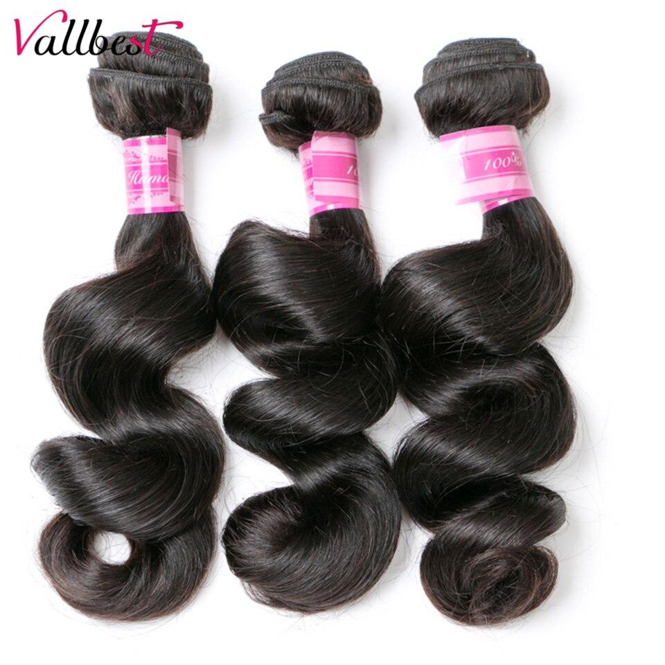 Vallbest, paquete de ondas sueltas peruanas, cabello Natural negro # 1B Remy, extensiones de cabello humano ondulado, 100g/Unid, Envío Gratis