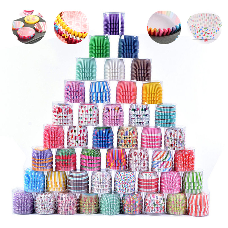 100PCS/Set Muffin Cupcake Paper Cups Cake Forms Cupcake Liner Baking Muffin Box Cup Case Party Tray Cake Mold Decorating Tools(China)