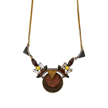 From Indian Unique Brown Wood Necklaces Pendants Antique Gold Color Chain Long Sweater Necklace Jewelry