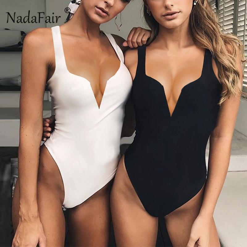 Nadafair Cut V Strappy Bodysuit Women White Black Skinny Club Party Body Female Sleeveless Summer Romper   Jumpsuit   Sexy Bodysuits