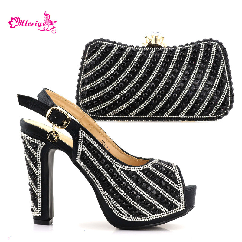 2872 New Arrival black Color Italian Matching Shoe and Bag Set for Wedding Shoe and Bag Italian Design Set African Shoe and Bag цена