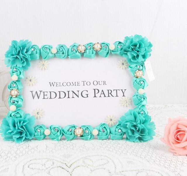 Artificial Rosepenoy Flower Photo Frame Wedding Reception Table
