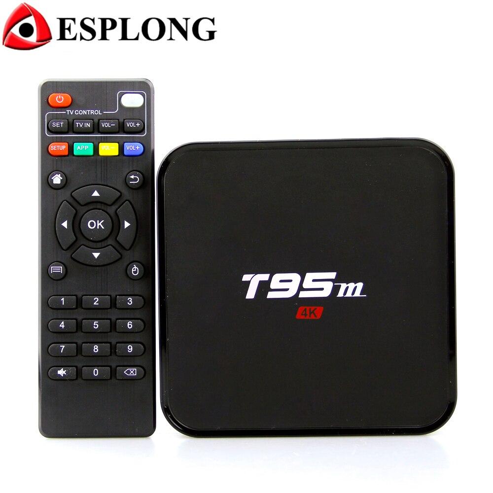 Smart T95M Android TV Box 4 k Amlogic S905X 2 gb 8 gb Quad Core 2.4g HD Media Player pre-installato WiFi Android 7.1 TV Set Top Box