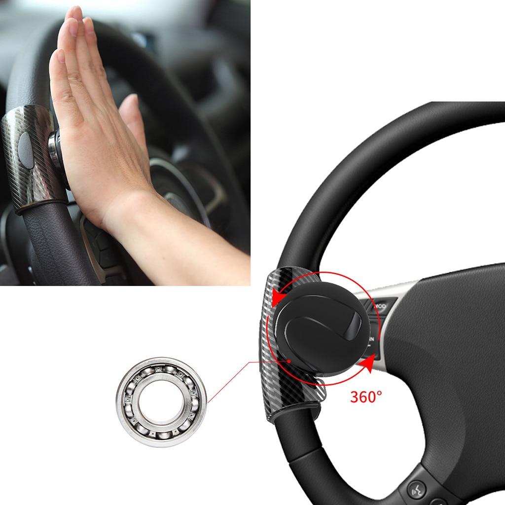 Carbon Fiber Hand Control Steering Wheel Vehicle Grip Spinner Knob Aid Control
