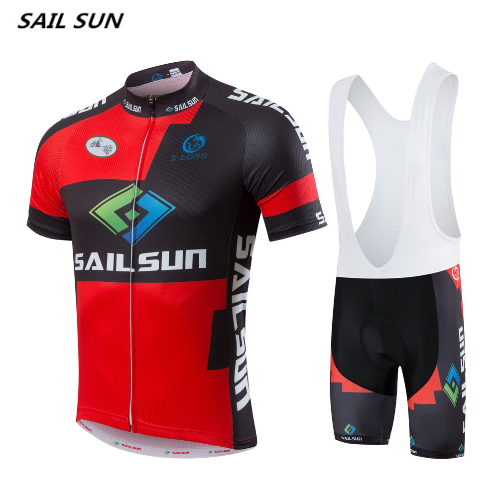 SAIL SUN Men red  Black Team Cycling Jersey or Bike bib Shorts Pro Sports Bike Short Jersey Bicycle Clothing Top шорты пляжные fallen board short rising sun black black