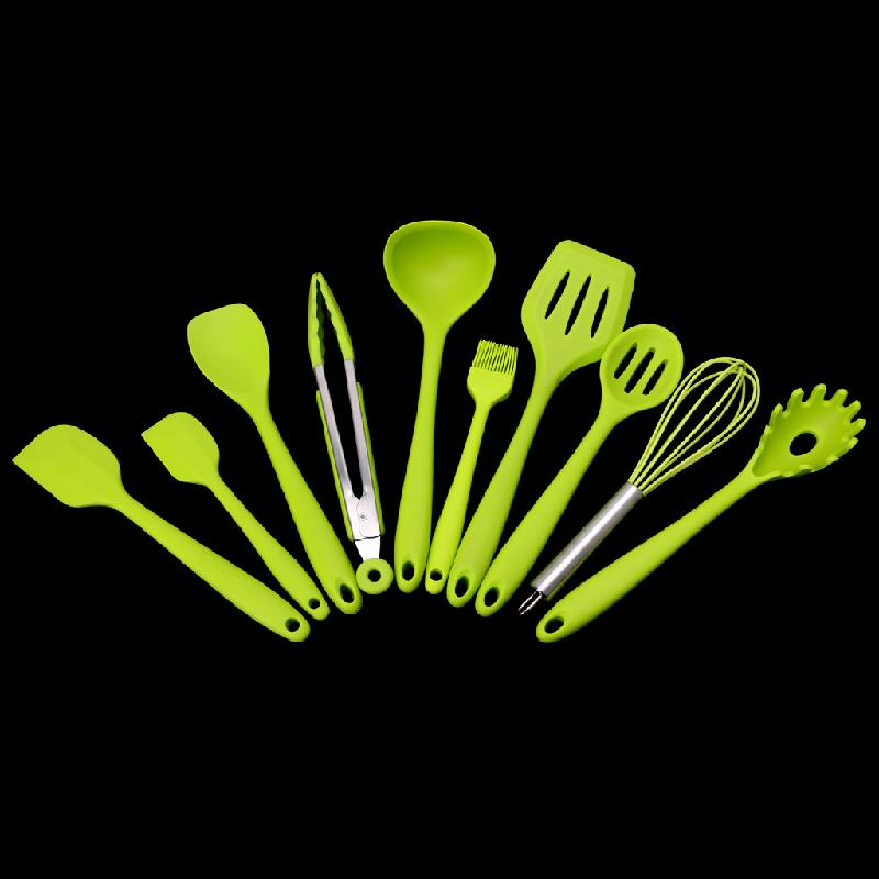 10Pcs/Set Heat Resitant Non-stick Silicone Kitchen Utensils Set Cooking Bake Tool DIY Ho ...