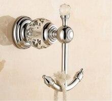 Роскошный кристалл & латунь Хром двойной крюк робы ванной полотенце вешалка для полотенец крючок для одежды Аксессуары Для Ванной Комнаты кухня вешалка