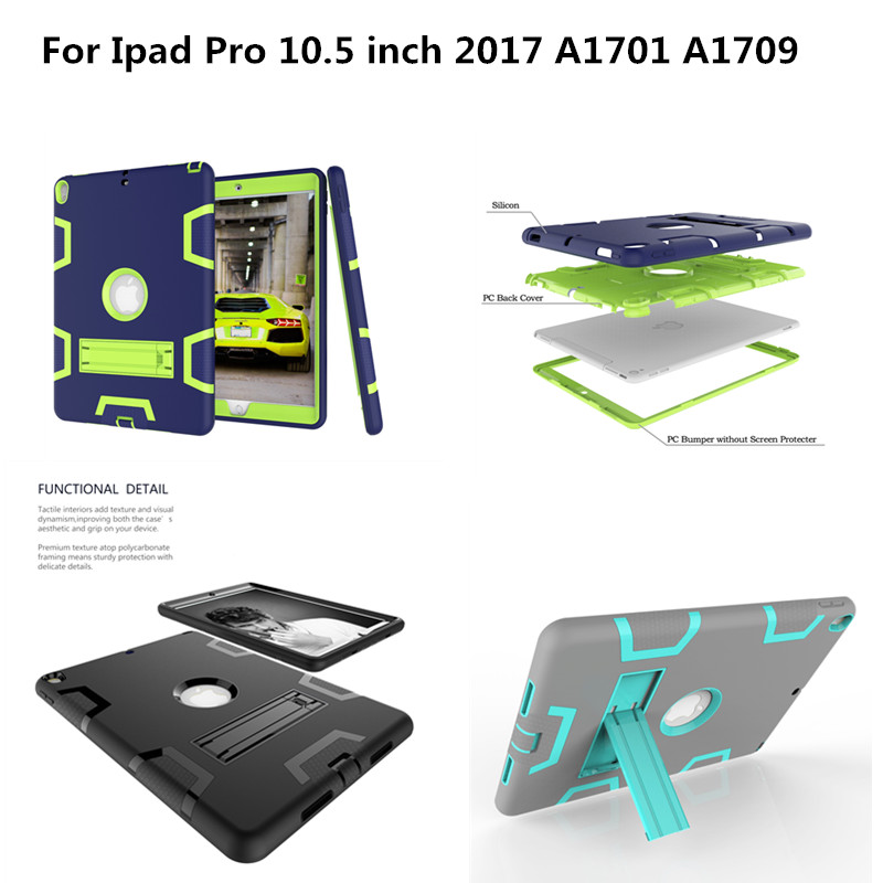 Armor Heavy Duty Case For New iPad Pro 10.5 inch 2017 A1701 A1709 Cover Tablet Kids Safe Shockproof Silicone Hard Stand Shell