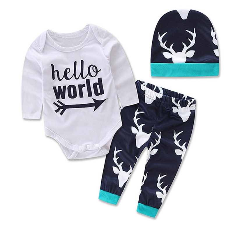 3PCS Rompers+Hat+Pants Baby Boys Girls Clothing Set Cute Cartoon Letter Toddler Jumpsuit Infant Cotton Long Sleeve Kids Clothes cotton baby rompers set newborn clothes baby clothing boys girls cartoon jumpsuits long sleeve overalls coveralls autumn winter