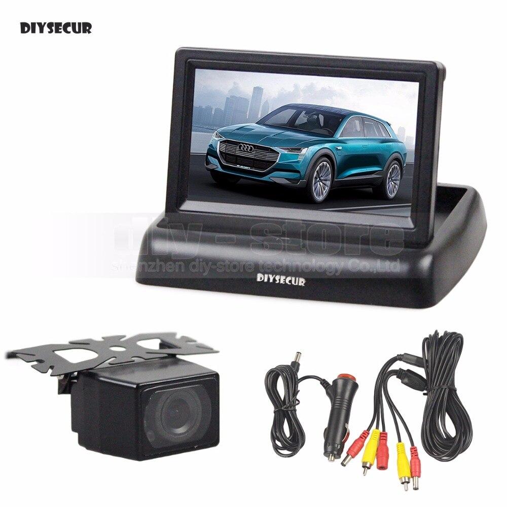 DIYSECUR 4,3 дюймов Автомобильная камера заднего вида комплект заднего вида Автомобильный монитор ЖК дисплей HD Автомобильная камера заднего вид