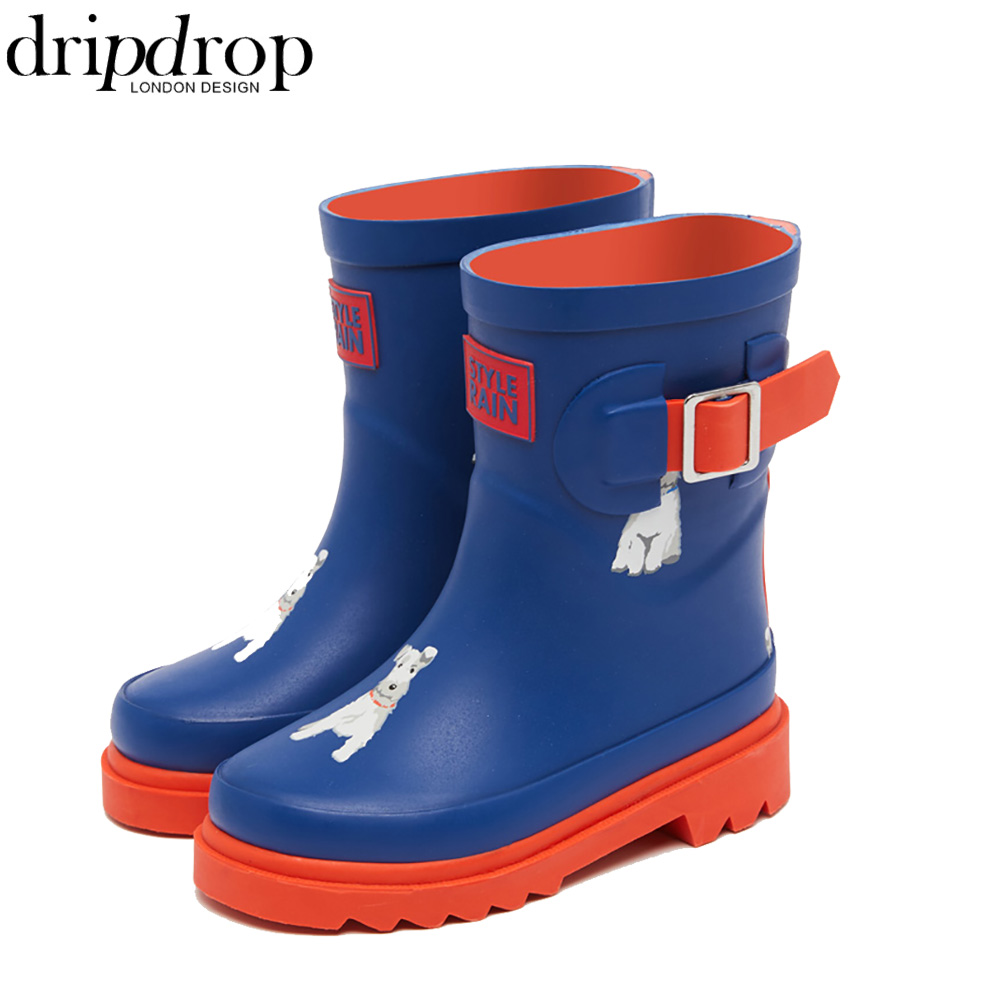 Natural Rubber Rain Boots for Kids Girls Boys Waterproof Boots Corgi Dalmatian Dogs Adjustable Buckle