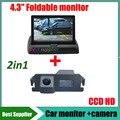 2in1 2 в 1 Система парковки для HYUNDAI I30 Genesis Coupe для KIA Soul CCD Автомобильная Камера Заднего вида + 4.3 inch сзади Автомобиля монитор